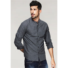 Doe Mandarin Collar Gray Shirt - Haberfasher