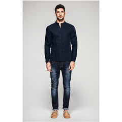 James Mandarin Collar Shirt - Haberfasher