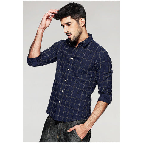 Shaun Navy Check Shirt - Haberfasher
