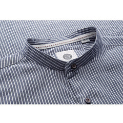 Blue Heather Striped Mandarin Collar Shirt - Haberfasher