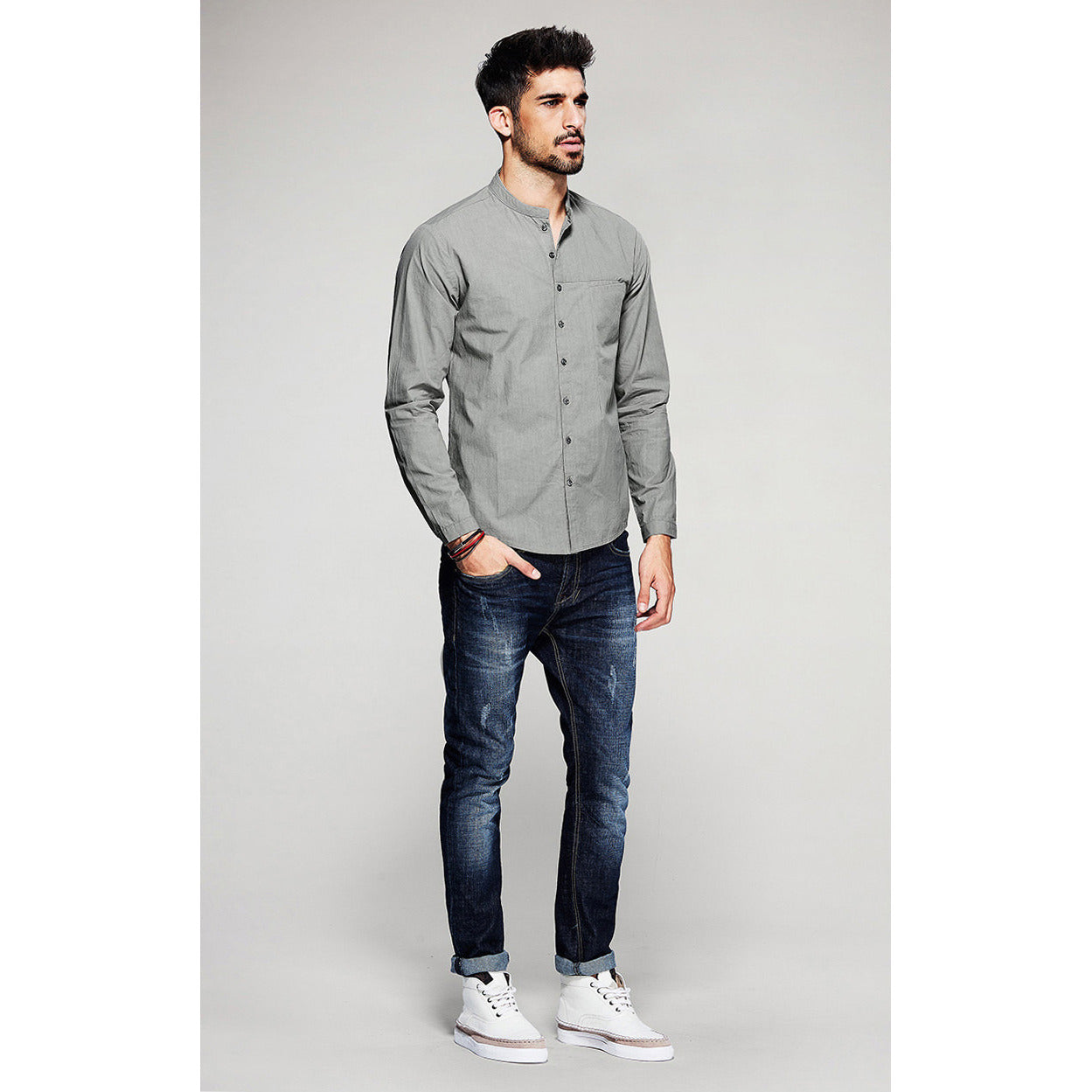 Truf Long Sleeve Gray Shirt - Haberfasher