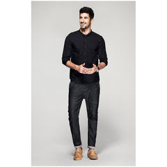 Eric Three Quarter Sleeve Black Shirt - Haberfasher