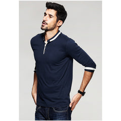 Baseball Collar Long Sleeve Polo Shirt - Haberfasher