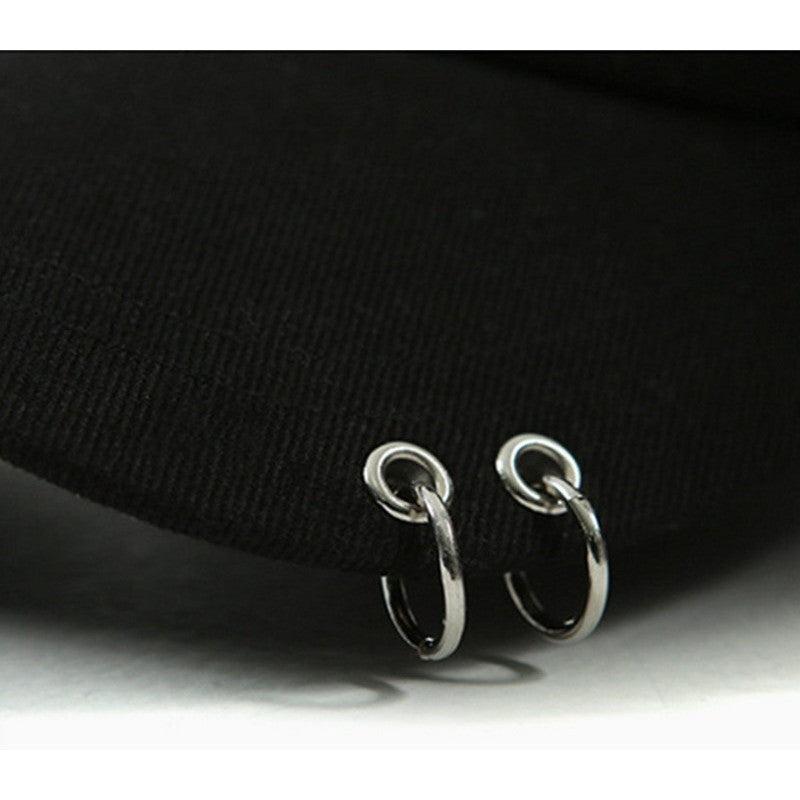 Black Vibrate Double Metal Ring Cap - Haberfasher
