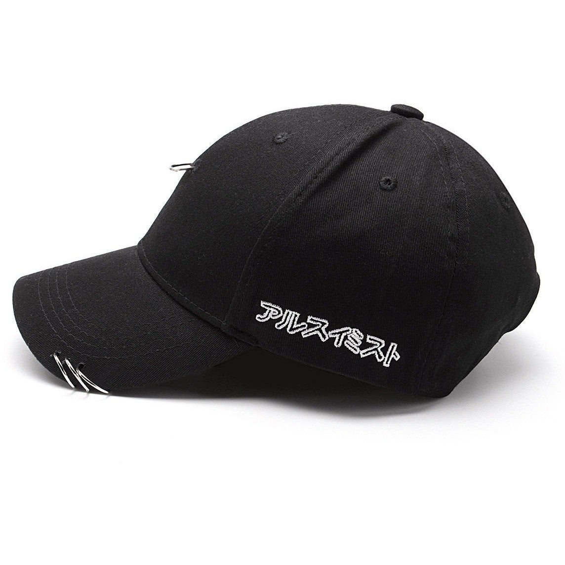 Black Metal Ring Hook Baseball Cap - Haberfasher