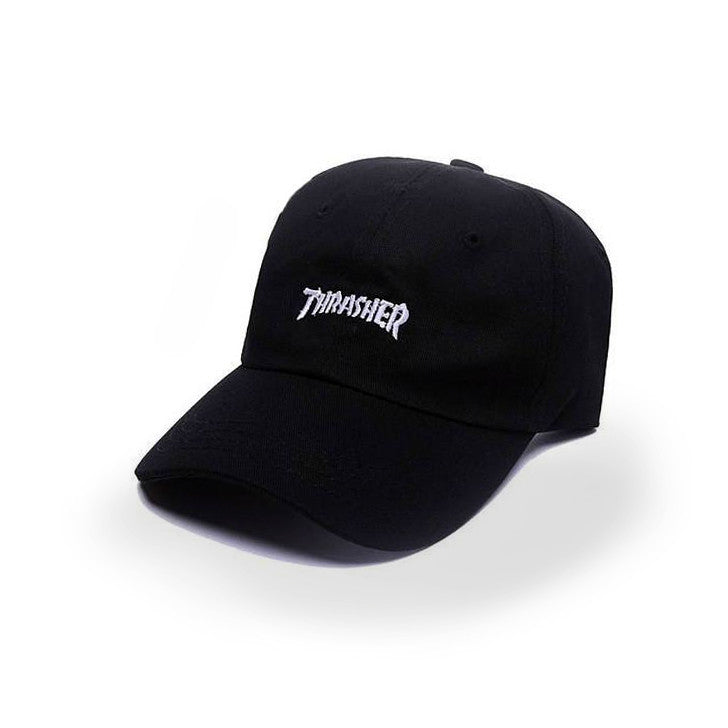 Black Small Thrasher Logo Cap - Haberfasher