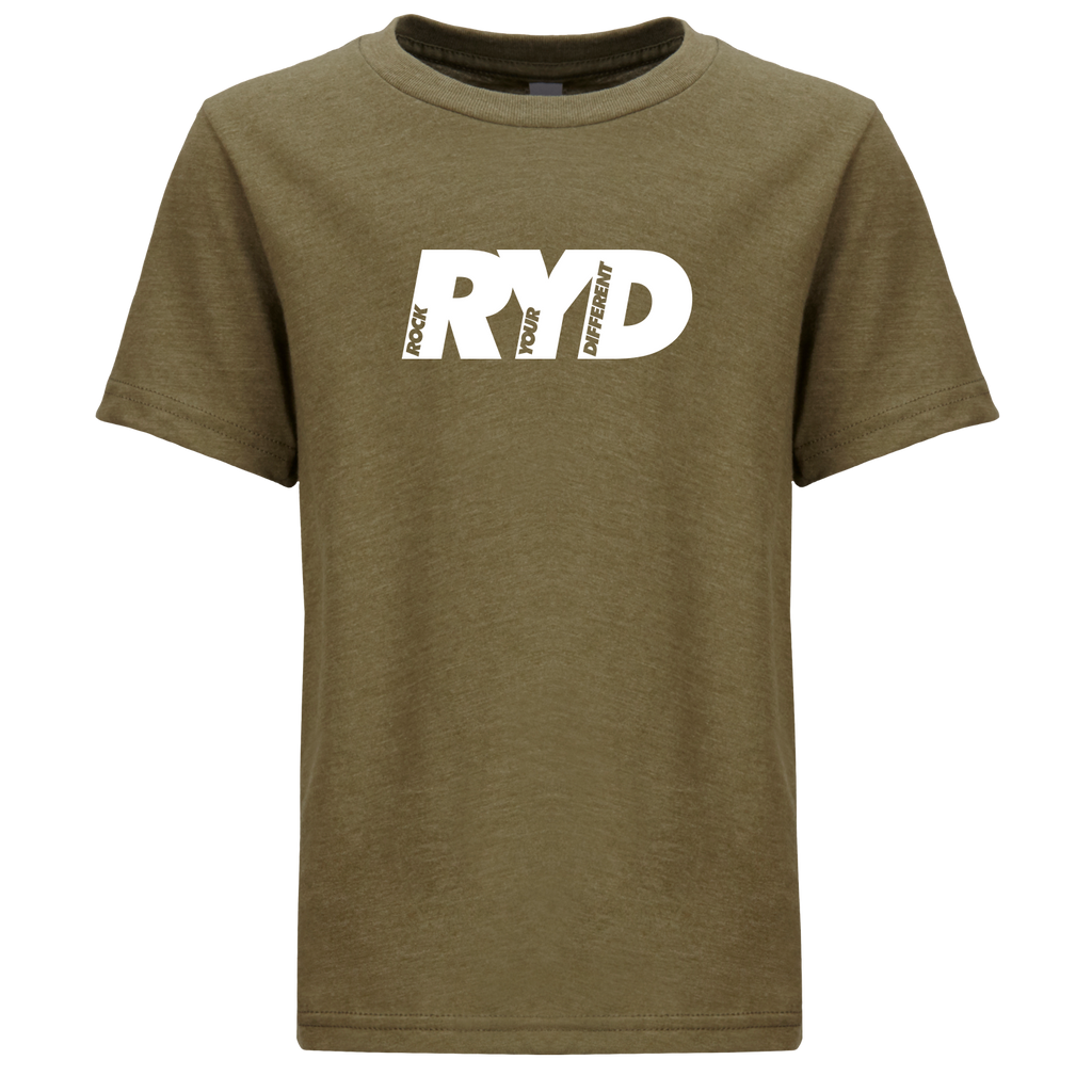 Youth RYD Logo T-Shirt Military Green - White Ink