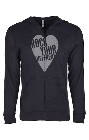 I heart RYD - Sueded Hooded Zip- Black