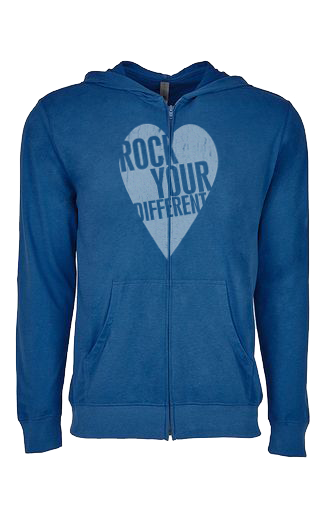 I heart RYD - The Sueded Hooded Zip - Cool Blue