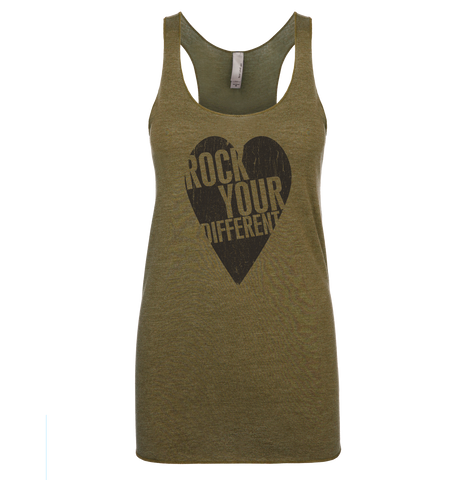 I Heart RYD Tank - Women's - Military Green - Black Ink