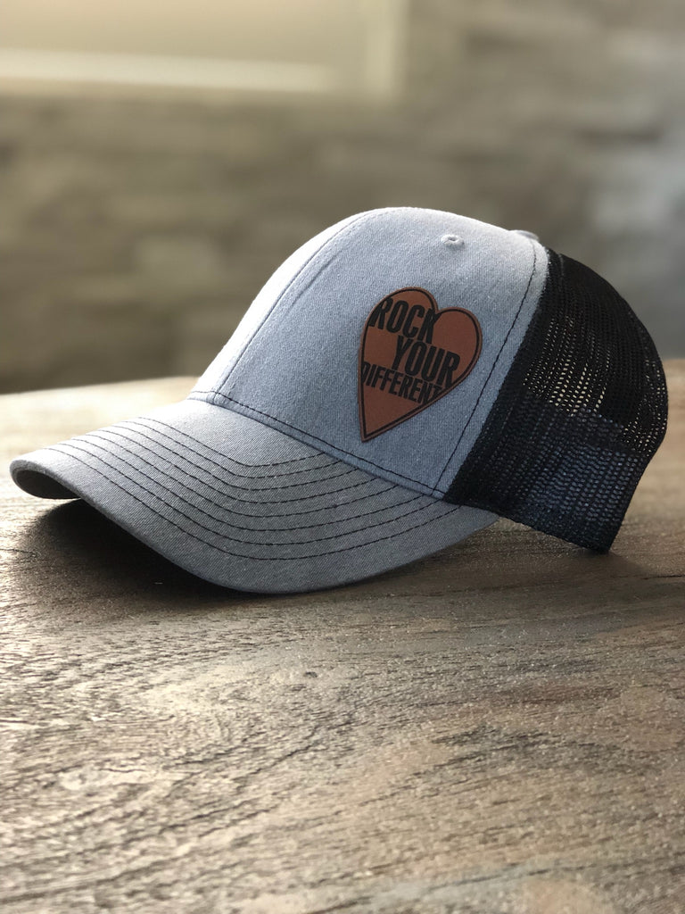 Black and Heather Grey * Tan Heart Patch Hat