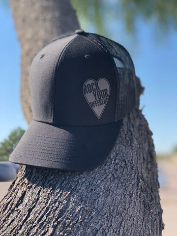 Black on Black Hat * Grey Heart  Patch