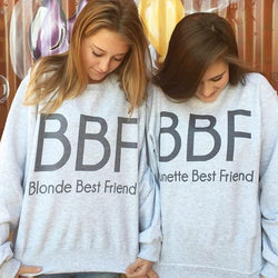 BFF Blonde Brunette Best Friend Pullovers - Girlz Code
