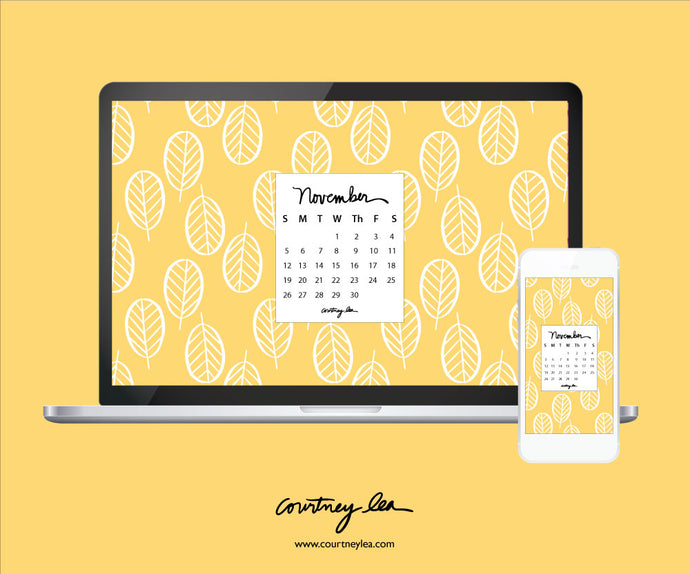 Golden November Calendar Download