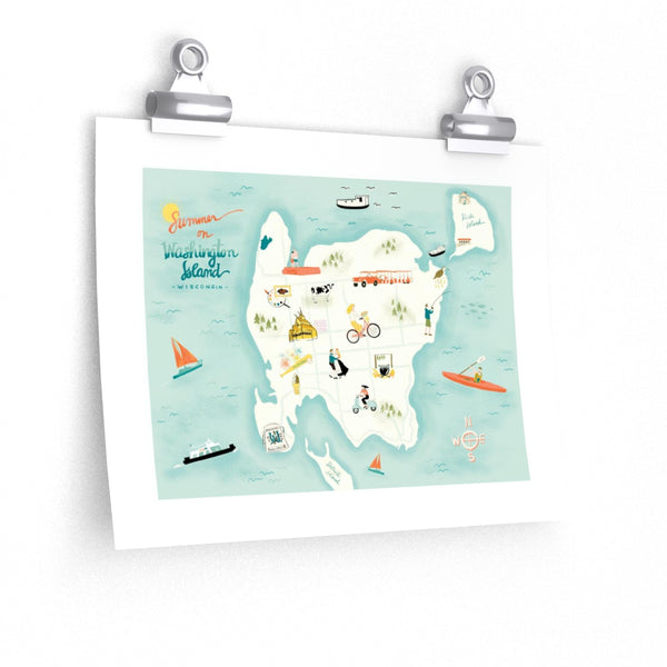Summer on Washington Island Map Print