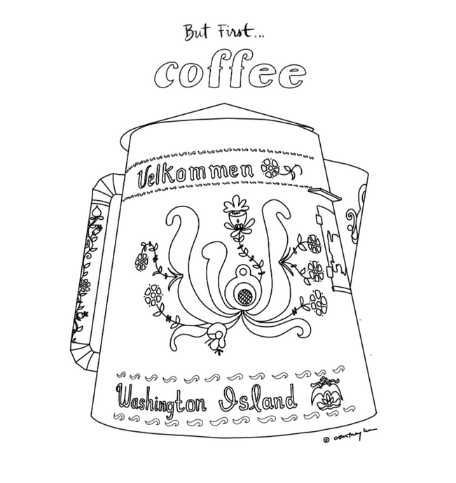 But First ... Coffee Coloring Page