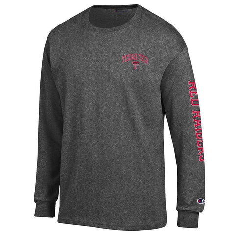 GS231-NCAA Mens Long Sleeve Shirt Arm Dark Heather-TEXAS TECH