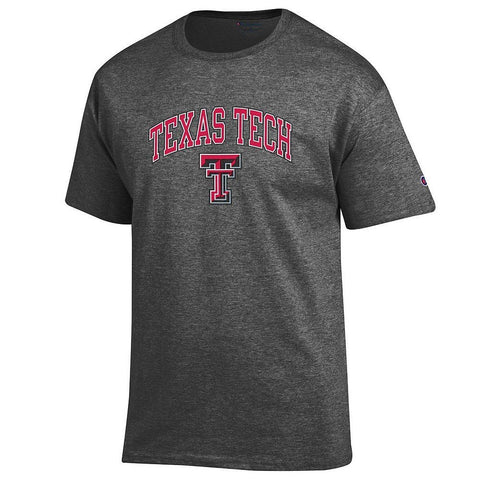 GS0232-NCAA Men's Short Sleeve T-Shirt Charcoal Gray-TEXAS TECH