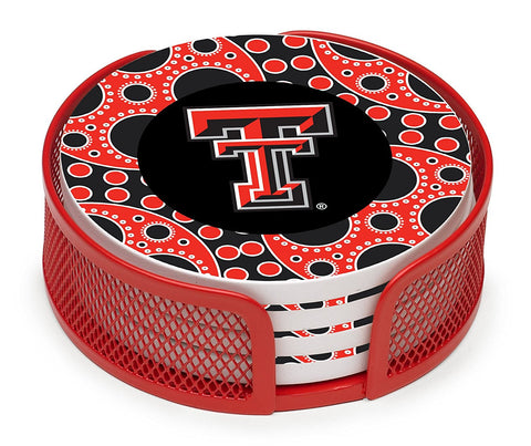 GS0239-Stoneware Drink Coaster Set with Holder, Texas Tech University Circles