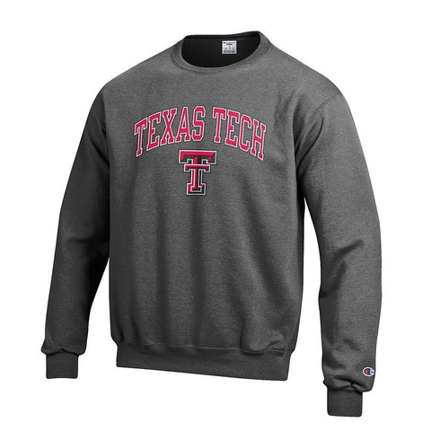 GS0246-NCAA Men's Crewneck Charcoal Gray Sweatshirt-TEXAS TECH