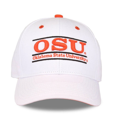 GS0360-NCAA Oklahoma State University Bar Design Adjustable Hat, White