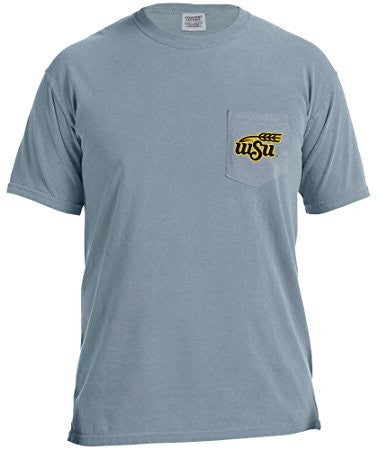 GS0446-NCAA Adventures Short Sleeve Comfort Color Pocket Tee-WITCHITA STATE
