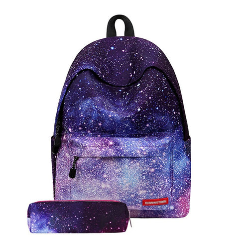 GS7000022-Cute Star Clouds Striped Lightweight School Backpack Bookbag with Pencil Case