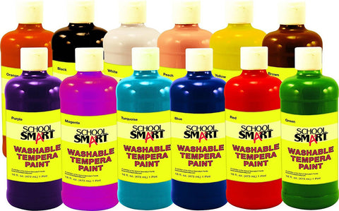 School Smart 1439213 Non-Toxic Washable Tempera Paint Set