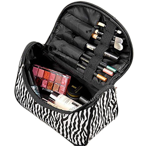 GS7083-Fashion Zebra Pattern Lady Makeup Bag Women Portable Cosmetic Toiletry Bags Travel Storage Organizer
