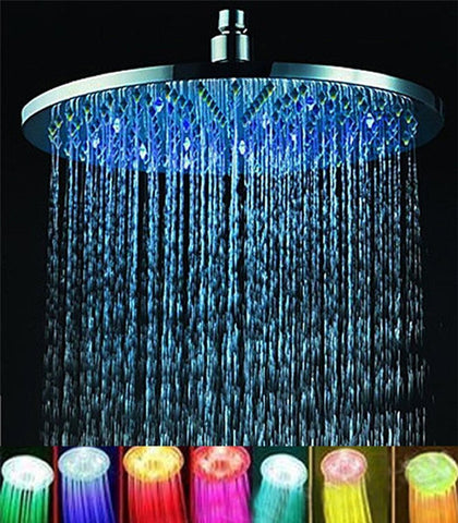 "GS2052-ELENKER 7 colors 8"" Rainfall Round Bathroom Shower Head RGB LED Flash Light"