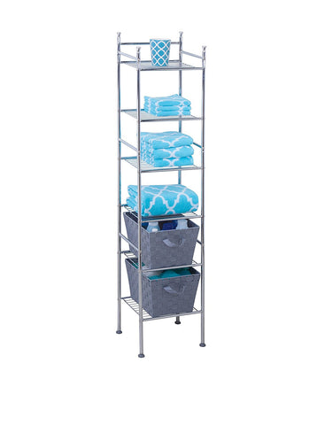 "GS2074-6 Tier Metal Tower Bathroom Shelf, 12.6 x 11.02 x 59.84"", Chrome"