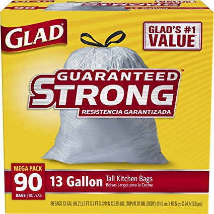 GS50002-Glad Tall Kitchen Drawstring Trash Bags - 13 Gallon - 90 Count