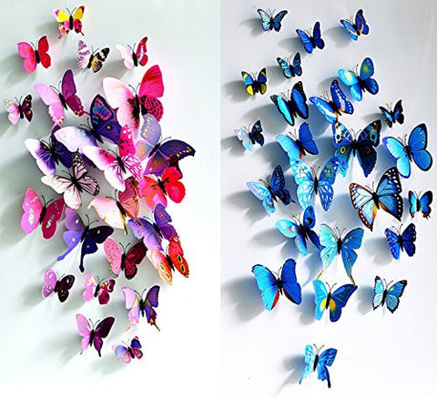 GS2090-12 pcs Purple + 12 pcs Blue 3D Butterfly Stickers Random Mixed Packing Home Decoration DIY Removable 3D Vivid Special Man-made Lively Butterfly Art DIY Decor Wall Stickers for Wall Decor Home Decor Wall Art Kids Room Bedroom Decor Living Room Decor