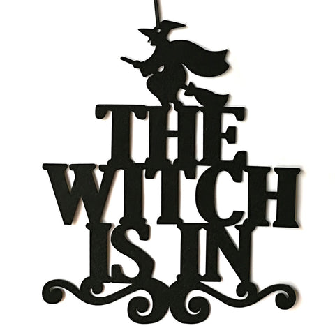 The Witch Is In Halloween Non-woven Hanging Witch Wall Door Decoration Halloween Party Supplies