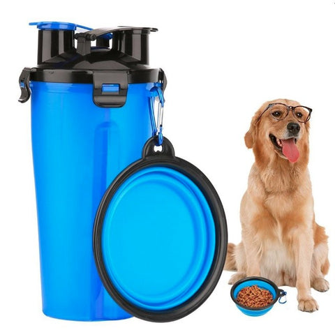 2 in 1 Dog Drinking Water Bottle with Bowl