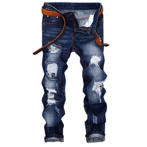 MCCKLE brand Ripped  Holes Straight Denim Biker Pants
