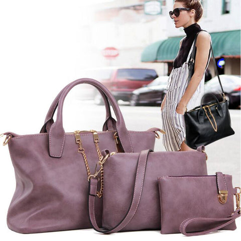 Female Purse Solid Shoulder Bags 3 Pcs/Set