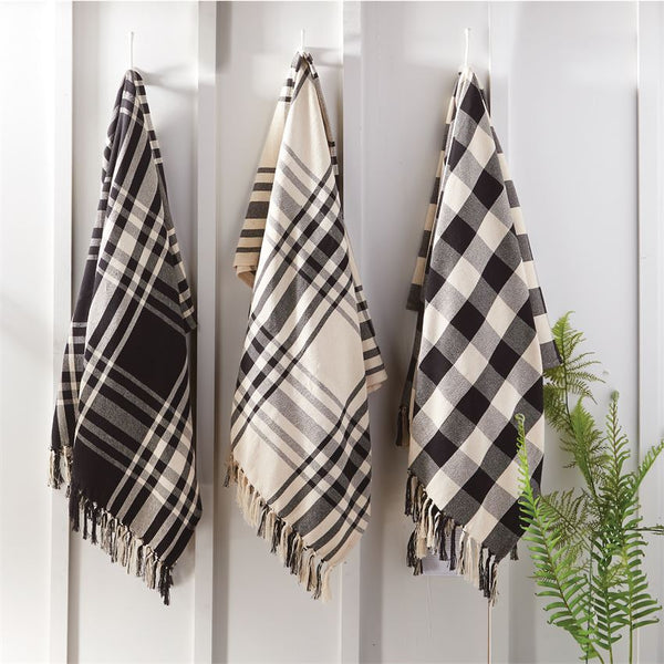 Mud Pie Black and White Check Blankets-MUD PIE-Sleeping Giant