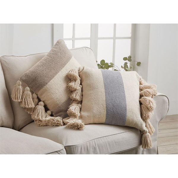 Mud Pie Square Stripe Tassel Pillows-MUD PIE-Sleeping Giant