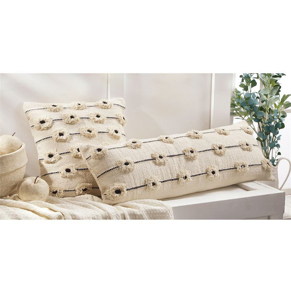 Mud Pie Flower Pom-Pom Pillows-MUD PIE-Sleeping Giant