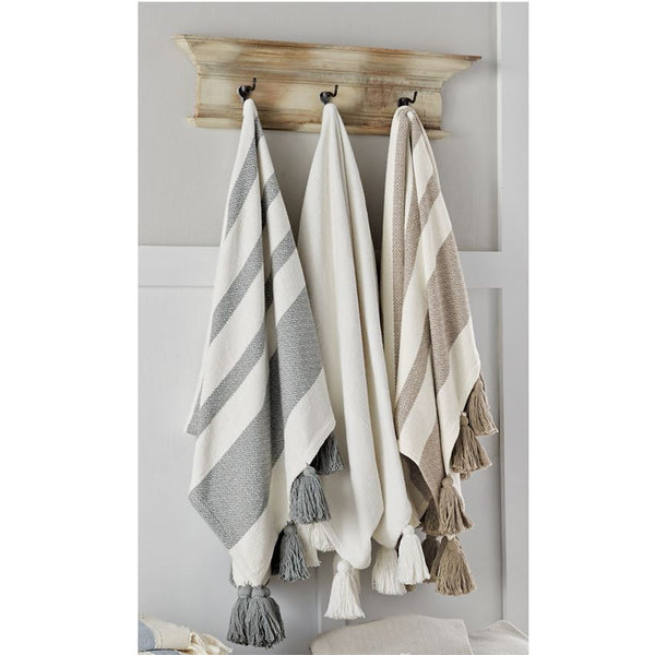 Mud Pie Woven Tassel Throw Blankets-MUD PIE-Sleeping Giant