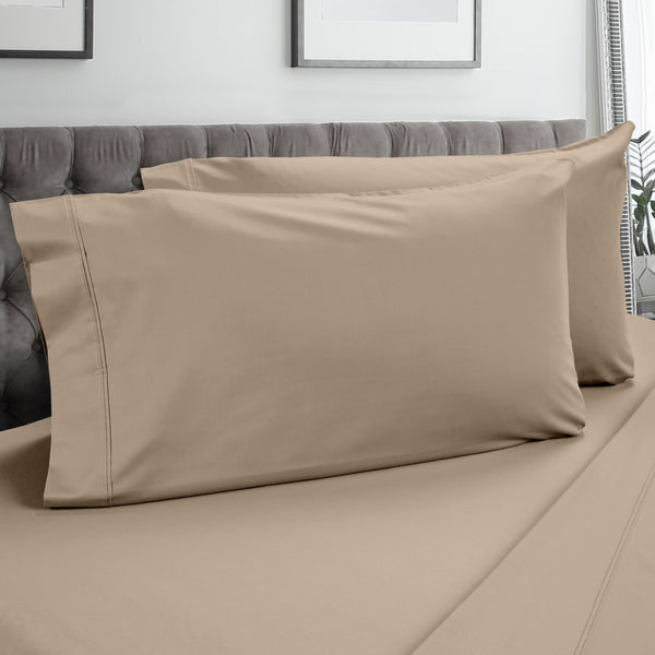DreamFit 3° Taupe 100% Pima Cotton Pillowcase-Hometex-Sleeping Giant