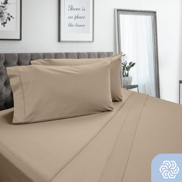 Dreamfit 3° Taupe 100% Pima Cotton Sheet Set-Hometex-Sleeping Giant