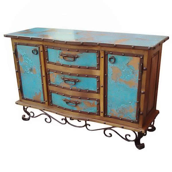 LMT Turquoise Copper Buffet With Iron Base-LMT-Sleeping Giant