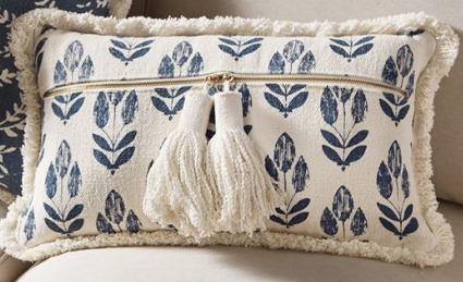 Mud Pie Dhurrie Indigo Pillows-MUD PIE-Sleeping Giant
