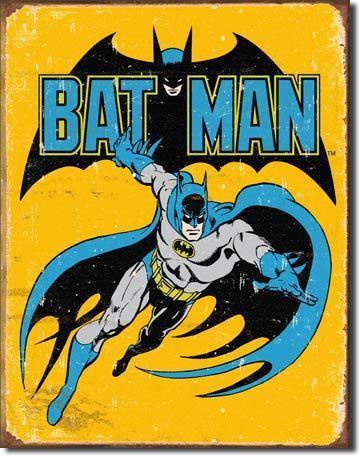 Batman Yellow and Blue Tin Wall Sign-Rainbow-Sleeping Giant