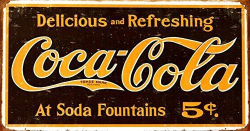 Coca-Cola Delicious and Refreshing Tin Wall Sign-Rainbow-Sleeping Giant