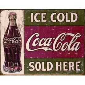 Coca-Cola Ice Cold Sold Here Tin Wall Sign-Rainbow-Sleeping Giant