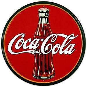 Coca-Cola Round Red Tin Wall Sign-Rainbow-Sleeping Giant