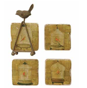 Coop Bird Cage Coaster Set-COOP-Sleeping Giant
